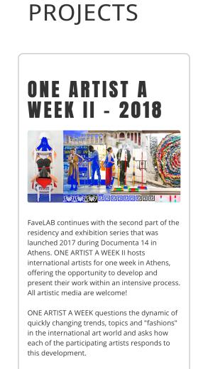 One Artist a Week 2018