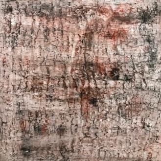 Wyrd, fresco on panel, 36 x 36 x 2.5 inches