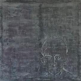 "Kafka Encoda, fresco on panel, 16x16"""