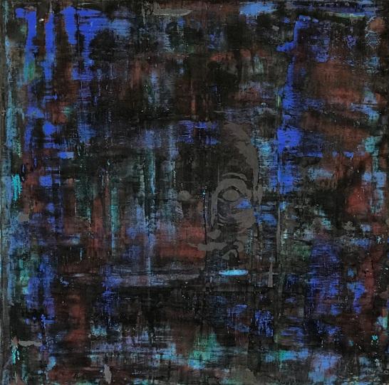 """Keyhole 5, fresco on panel, 20x20"""""""