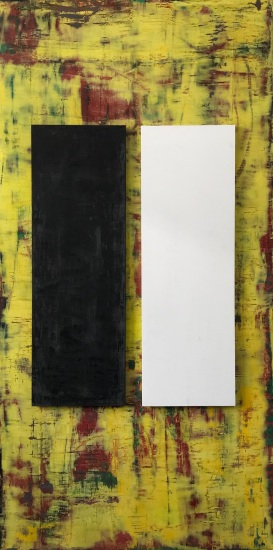 "Event Horizon, fresco on panels in three parts, 72x36"", with two 36x12"" panels in black and white"