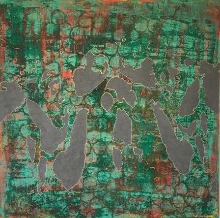 "Archipelago of Han (Kemp's Ridley Sea Turtule), fresco on panel, 36x36"""
