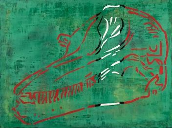 "Katama (Bottlenose Dolphin), fresco on panel, 18x24"""