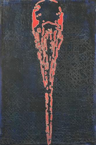 """Mother Love (Wood Stork), fresco on panel, 36x24"""", 2018"""