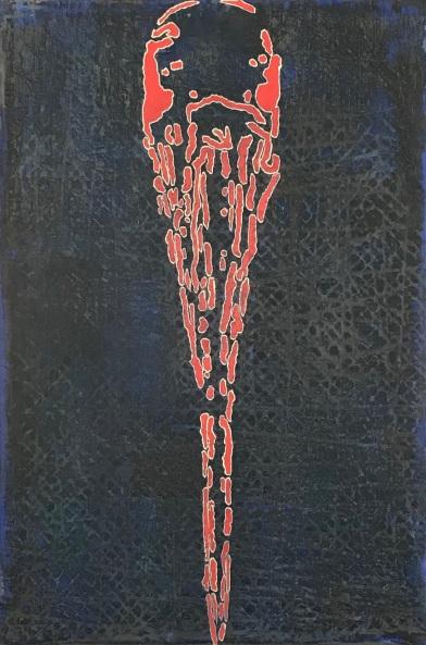 """Mother Love (Wood Stork), fresco on panel, 36x24"""""""