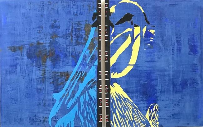 "Zhedeg (Brown Pelican), fresco on 2 panels, (2) 18x14"""